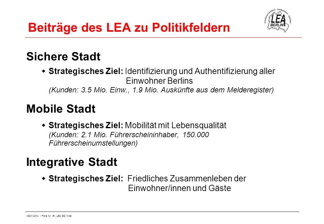- 09.01.2014 - Folie Nr. 14, LEA StD Moe Beiträge des LEA zu Politikfeldern Sichere Stadt Strategisches Ziel: Identifizierung und Authentifizierung al