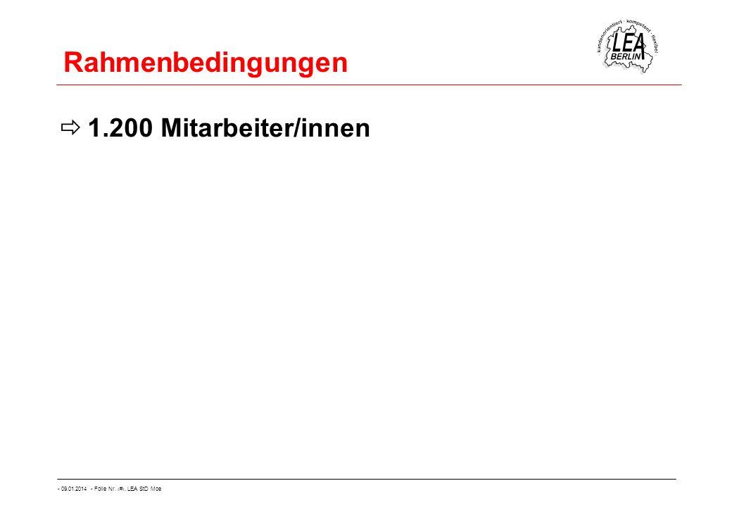- 09.01.2014 - Folie Nr. 16, LEA StD Moe Rahmenbedingungen 1.200 Mitarbeiter/innen