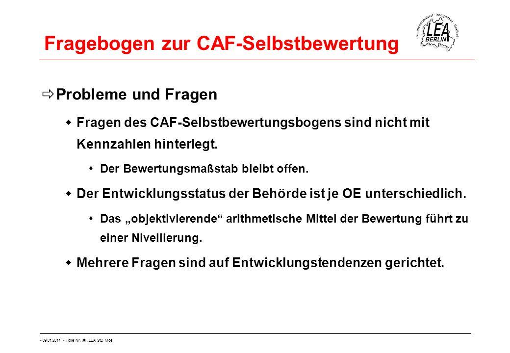 - 09.01.2014 - Folie Nr. 27, LEA StD Moe Fragebogen zur CAF-Selbstbewertung Probleme und Fragen Fragen des CAF-Selbstbewertungsbogens sind nicht mit K