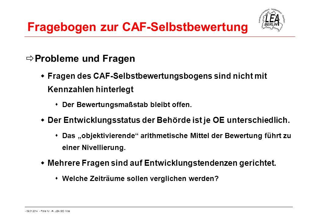 - 09.01.2014 - Folie Nr. 28, LEA StD Moe Fragebogen zur CAF-Selbstbewertung Probleme und Fragen Fragen des CAF-Selbstbewertungsbogens sind nicht mit K