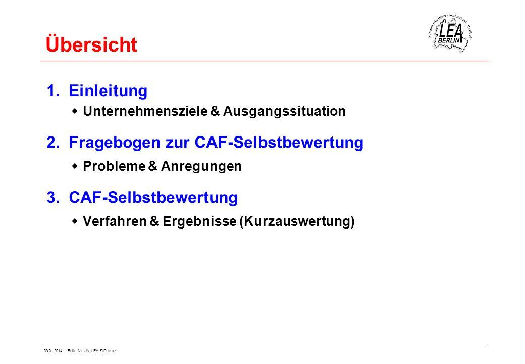 - 09.01.2014 - Folie Nr. 4, LEA StD Moe Übersicht 1. Einleitung Unternehmensziele & Ausgangssituation 2. Fragebogen zur CAF-Selbstbewertung Probleme &