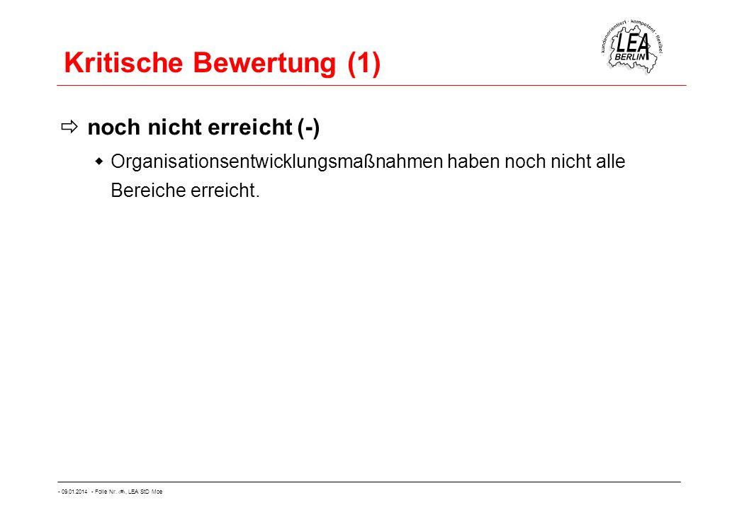 - 09.01.2014 - Folie Nr. 47, LEA StD Moe Kritische Bewertung (1) noch nicht erreicht (-) Organisationsentwicklungsmaßnahmen haben noch nicht alle Bere