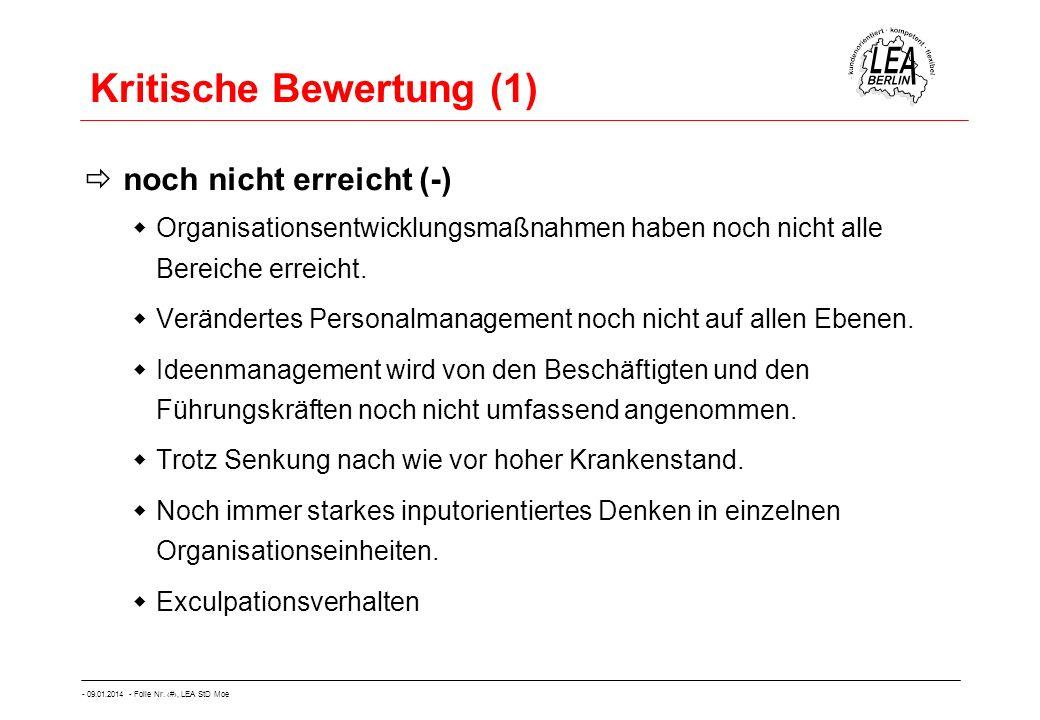 - 09.01.2014 - Folie Nr. 52, LEA StD Moe Kritische Bewertung (1) noch nicht erreicht (-) Organisationsentwicklungsmaßnahmen haben noch nicht alle Bere