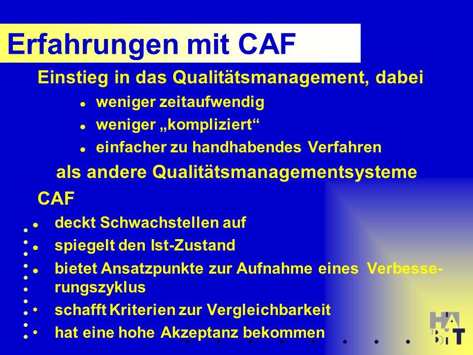 Erfahrungen mit CAF Einstieg in das Qualitätsmanagement, dabei weniger zeitaufwendig weniger kompliziert einfacher zu handhabendes Verfahren als andere Qualitätsmanagementsysteme CAF deckt Schwachstellen auf spiegelt den Ist-Zustand bietet Ansatzpunkte zur Aufnahme eines Verbesse- rungszyklus schafft Kriterien zur Vergleichbarkeit hat eine hohe Akzeptanz bekommen