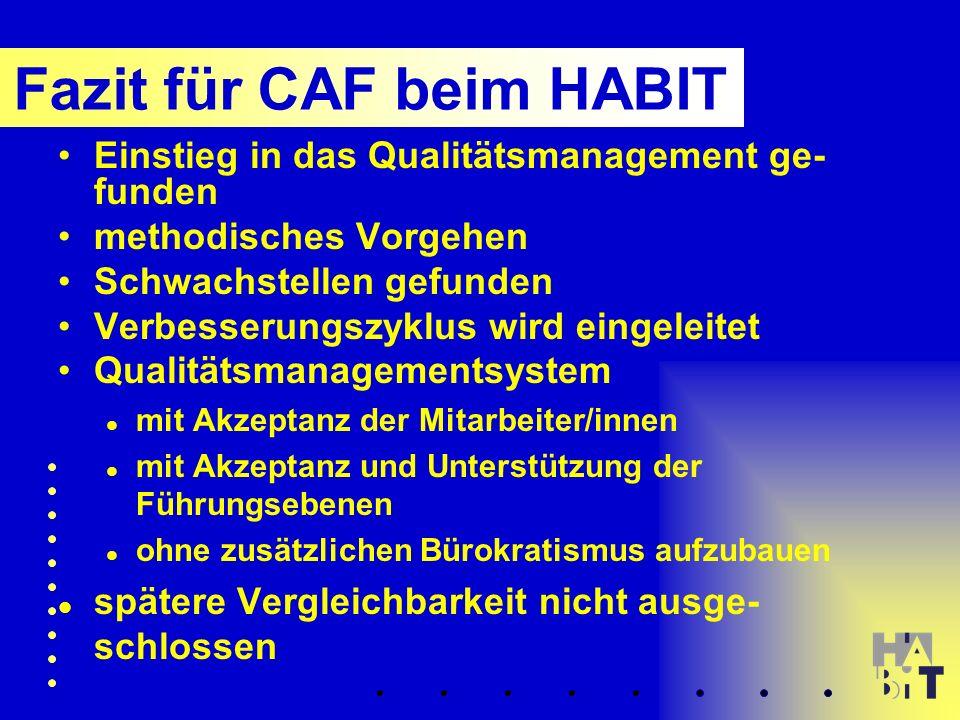 Einstieg in das Qualitätsmanagement ge- funden methodisches Vorgehen Schwachstellen gefunden Verbesserungszyklus wird eingeleitet Qualitätsmanagementsystem mit Akzeptanz der Mitarbeiter/innen mit Akzeptanz und Unterstützung der Führungsebenen ohne zusätzlichen Bürokratismus aufzubauen spätere Vergleichbarkeit nicht ausge- schlossen Fazit für CAF beim HABIT