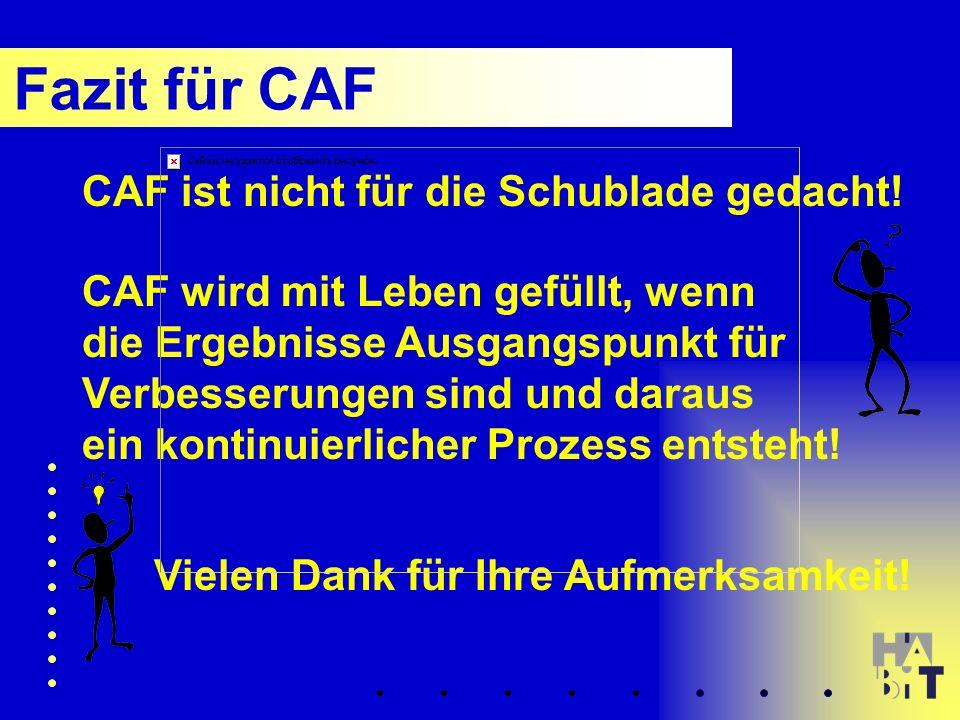 Fazit für CAF CAF ist nicht für die Schublade gedacht.