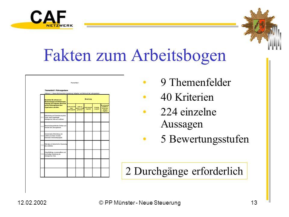 12.02.2002© PP Münster - Neue Steuerung12 CAF – ein Arbeitsbogen Insgesamt 9 Themenfelder mit Indikatoren Kriterien zur Befähigung, Effizienz interner