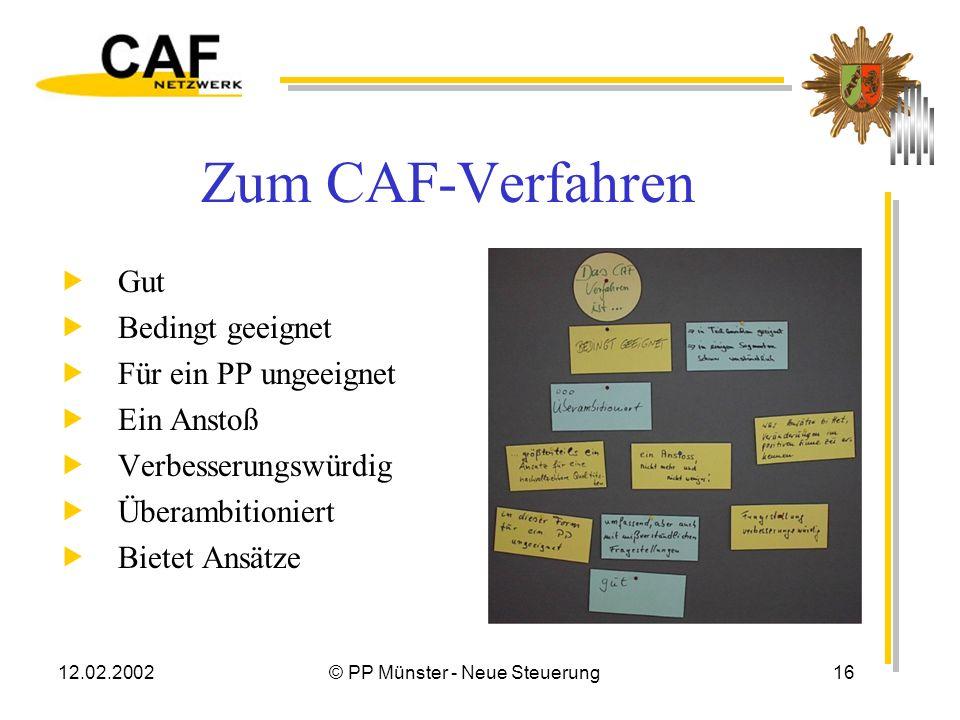12.02.2002© PP Münster - Neue Steuerung15 Spielregeln Eine Bewertung erfolgt nur aufgrund der eigenen Wahrnehmung, nicht nach dem Hören-Sagen. Im Team