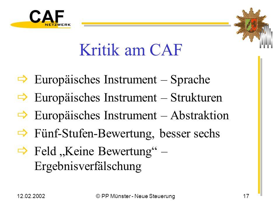 12.02.2002© PP Münster - Neue Steuerung16 Zum CAF-Verfahren Gut Bedingt geeignet Für ein PP ungeeignet Ein Anstoß Verbesserungswürdig Überambitioniert