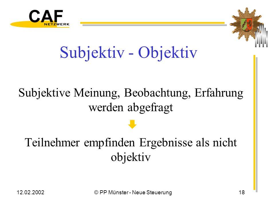 12.02.2002© PP Münster - Neue Steuerung17 Kritik am CAF Europäisches Instrument – Sprache Europäisches Instrument – Strukturen Europäisches Instrument
