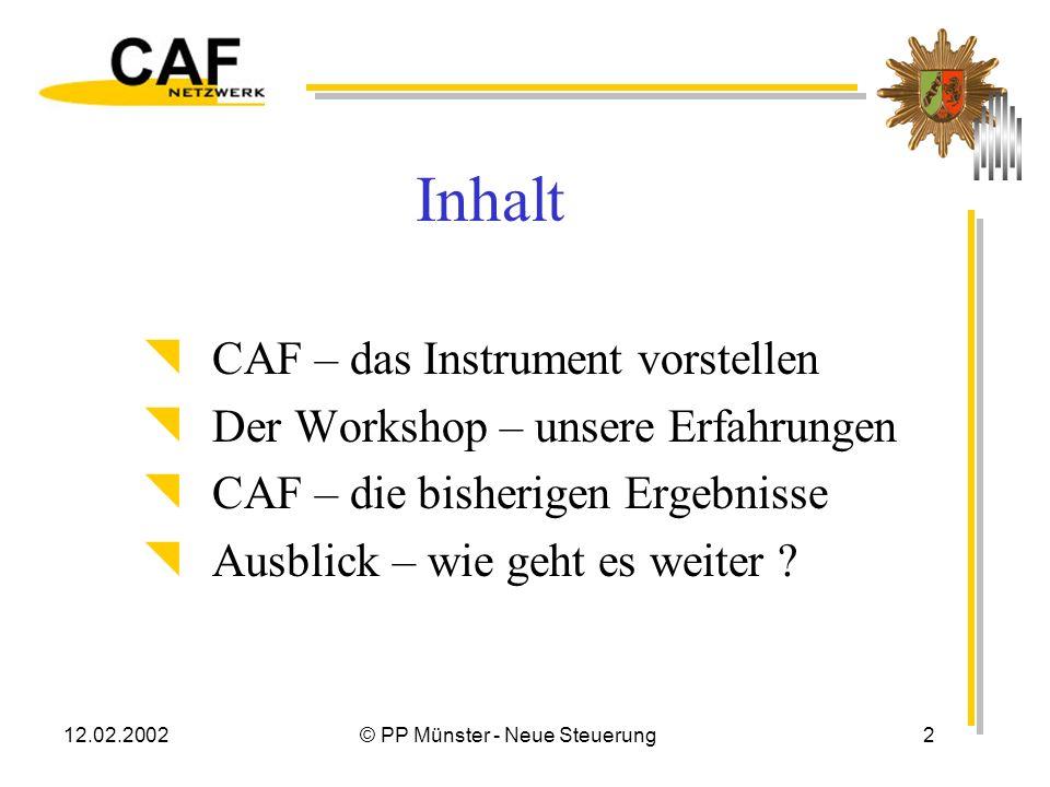 12.02.2002© PP Münster - Neue Steuerung12 CAF – ein Arbeitsbogen Insgesamt 9 Themenfelder mit Indikatoren Kriterien zur Befähigung, Effizienz interner Abläufe Kriterien zu Ergebnissen, externe Ergebnisse und Wirkungen