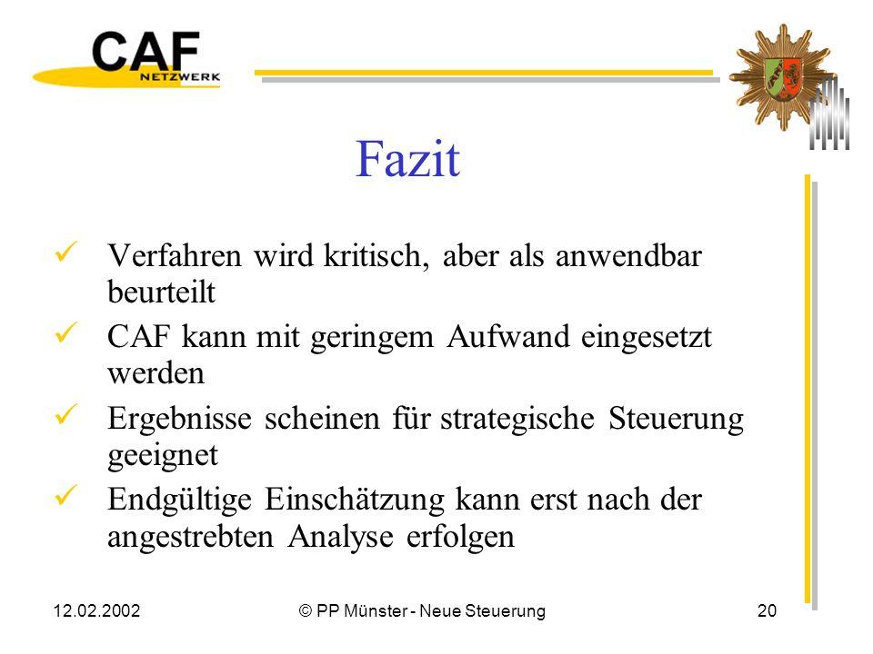 12.02.2002© PP Münster - Neue Steuerung19 Nutzen CAF ? Ergebnisse müssen interpretiert werden Unmittelbar aus den Punktwerten können keine Maßnahmen a