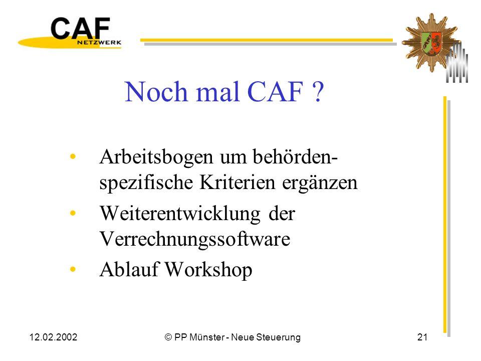12.02.2002© PP Münster - Neue Steuerung20 Fazit Verfahren wird kritisch, aber als anwendbar beurteilt CAF kann mit geringem Aufwand eingesetzt werden