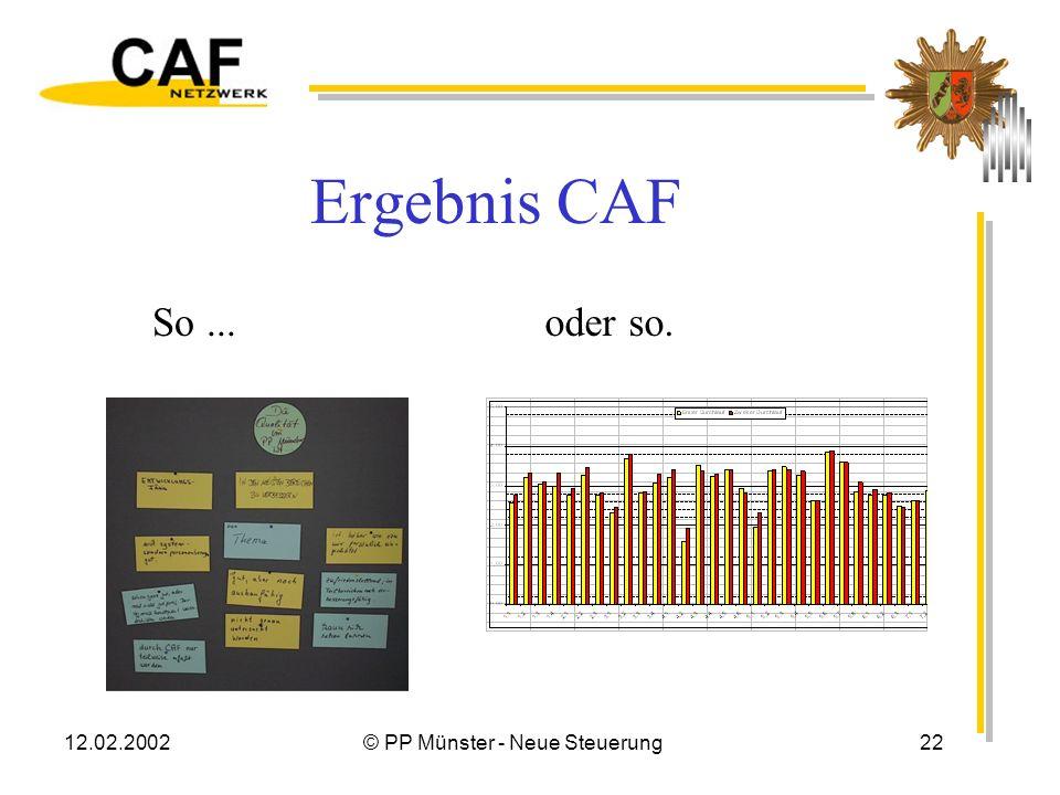 12.02.2002© PP Münster - Neue Steuerung21 Noch mal CAF ? Arbeitsbogen um behörden- spezifische Kriterien ergänzen Weiterentwicklung der Verrechnungsso