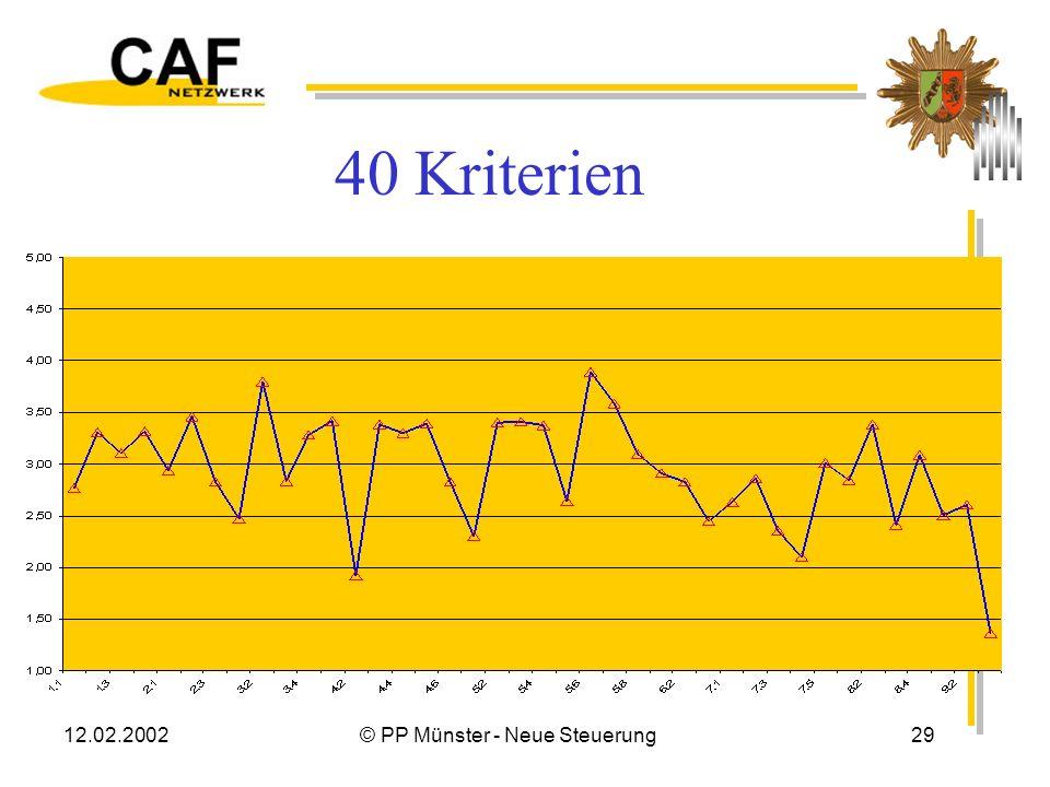 12.02.2002© PP Münster - Neue Steuerung28 Ergebnisse Themenfelder Führungsebene3,13 Organisationspolitik und -strategie3,07 Personalmanagement3,10 Ext