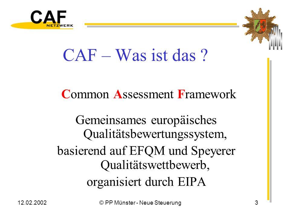 12.02.2002© PP Münster - Neue Steuerung2 Inhalt CAF – das Instrument vorstellen Der Workshop – unsere Erfahrungen CAF – die bisherigen Ergebnisse Ausb
