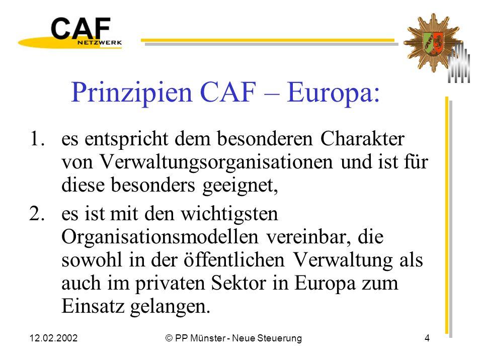 12.02.2002© PP Münster - Neue Steuerung4 Prinzipien CAF – Europa: 1.es entspricht dem besonderen Charakter von Verwaltungsorganisationen und ist für diese besonders geeignet, 2.es ist mit den wichtigsten Organisationsmodellen vereinbar, die sowohl in der öffentlichen Verwaltung als auch im privaten Sektor in Europa zum Einsatz gelangen.
