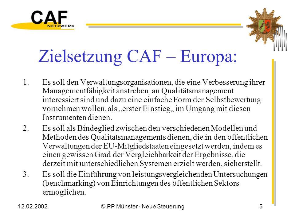 12.02.2002© PP Münster - Neue Steuerung5 Zielsetzung CAF – Europa: 1.Es soll den Verwaltungsorganisationen, die eine Verbesserung ihrer Managementfähigkeit anstreben, an Qualitätsmanagement interessiert sind und dazu eine einfache Form der Selbstbewertung vornehmen wollen, als erster Einstieg im Umgang mit diesen Instrumenten dienen.