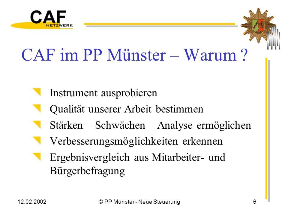 12.02.2002© PP Münster - Neue Steuerung16 Zum CAF-Verfahren Gut Bedingt geeignet Für ein PP ungeeignet Ein Anstoß Verbesserungswürdig Überambitioniert Bietet Ansätze