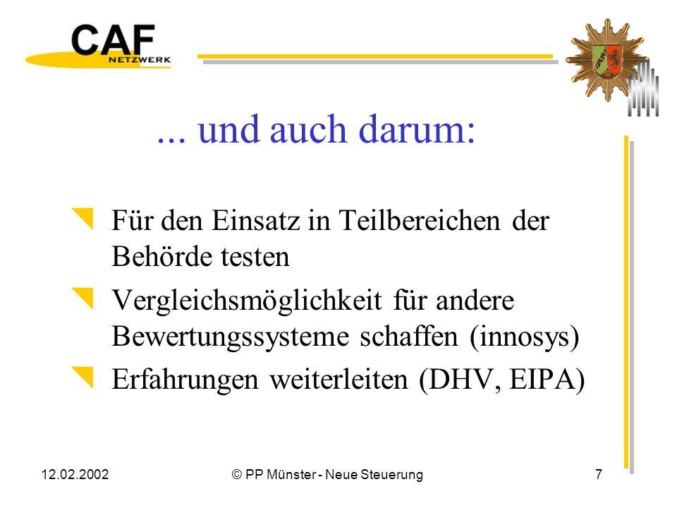 12.02.2002© PP Münster - Neue Steuerung6 CAF im PP Münster – Warum ? Instrument ausprobieren Qualität unserer Arbeit bestimmen Stärken – Schwächen – A