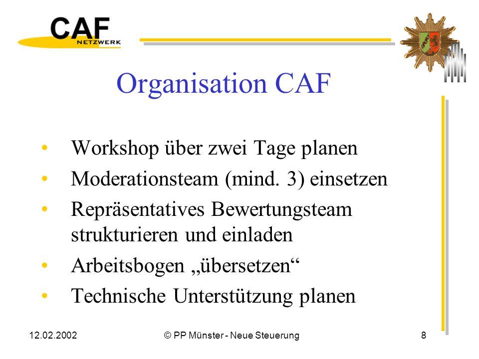 12.02.2002© PP Münster - Neue Steuerung8 Organisation CAF Workshop über zwei Tage planen Moderationsteam (mind.