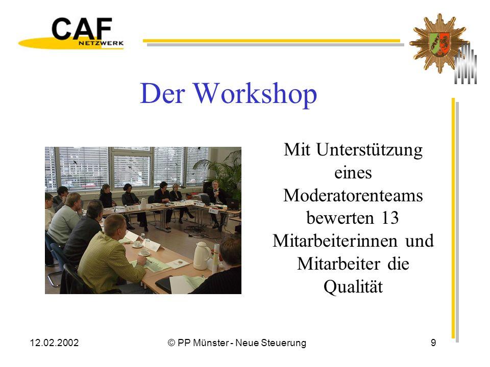 12.02.2002© PP Münster - Neue Steuerung8 Organisation CAF Workshop über zwei Tage planen Moderationsteam (mind. 3) einsetzen Repräsentatives Bewertung