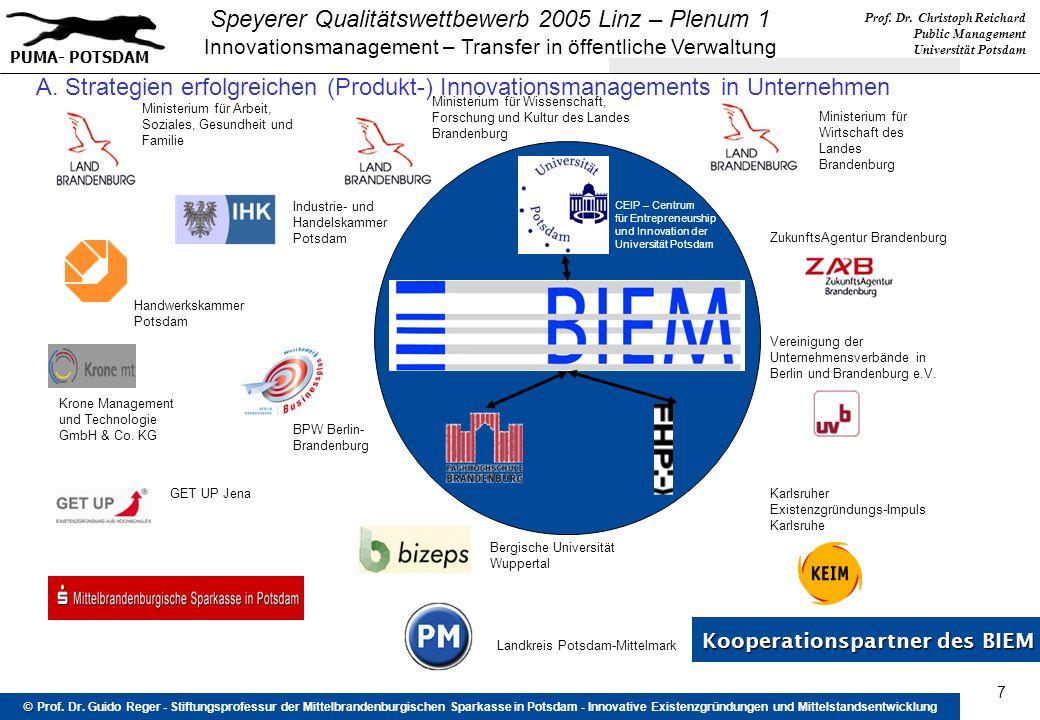 Prof. Dr. Christoph Reichard Public Management Universität Potsdam PUMA- POTSDAM Speyerer Qualitätswettbewerb 2005 Linz – Plenum 1 Innovationsmanageme