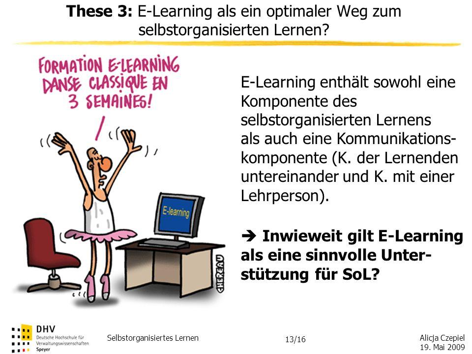 Alicja Czepiel 19. Mai 2009 Selbstorganisiertes Lernen 12/16 These 2: Selbstorganisiertes Lernen und Institutionen – Widerspruch in sich oder lohnende