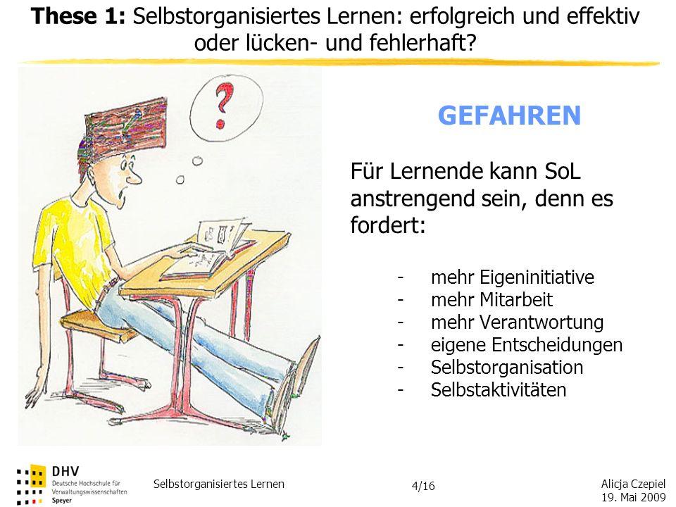 Alicja Czepiel 19. Mai 2009 Selbstorganisiertes Lernen 3/16 Definition nach Greif und Kurtz (1998) Bereiche, über die Lernende selbst entscheiden könn