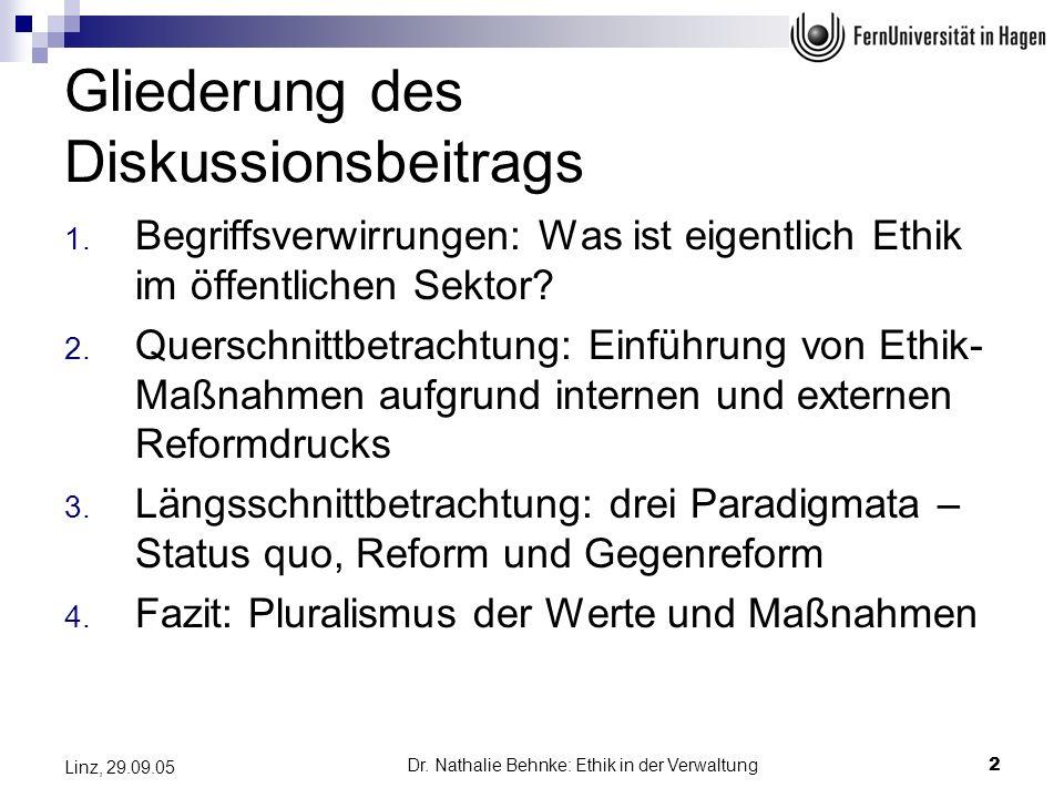 Dr. Nathalie Behnke: Ethik in der Verwaltung2 Linz, 29.09.05 Gliederung des Diskussionsbeitrags 1. Begriffsverwirrungen: Was ist eigentlich Ethik im ö