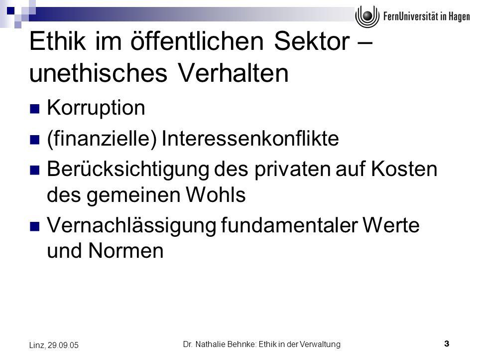 Dr. Nathalie Behnke: Ethik in der Verwaltung3 Linz, 29.09.05 Ethik im öffentlichen Sektor – unethisches Verhalten Korruption (finanzielle) Interessenk
