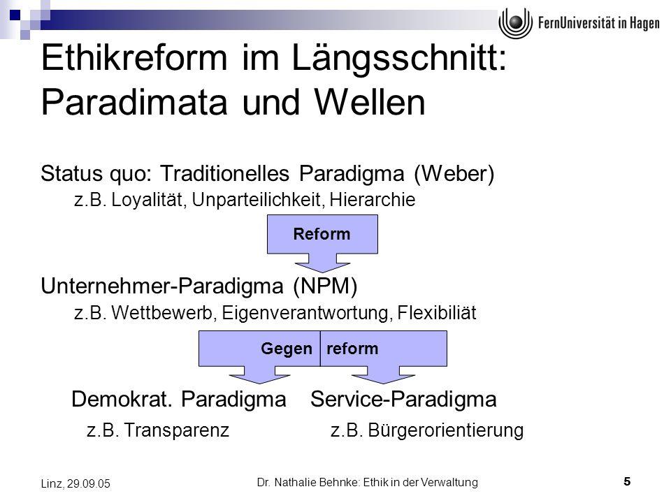 Dr. Nathalie Behnke: Ethik in der Verwaltung5 Linz, 29.09.05 Ethikreform im Längsschnitt: Paradimata und Wellen Status quo: Traditionelles Paradigma (