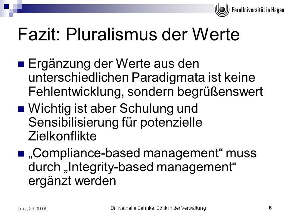 Dr. Nathalie Behnke: Ethik in der Verwaltung6 Linz, 29.09.05 Fazit: Pluralismus der Werte Ergänzung der Werte aus den unterschiedlichen Paradigmata is
