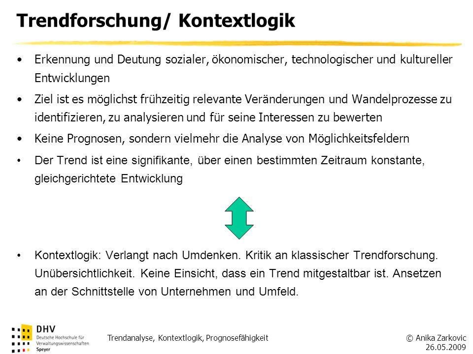 © Anika Zarkovic 26.05.2009 Trendanalyse, Kontextlogik, Prognosefähigkeit Erkennung und Deutung sozialer, ökonomischer, technologischer und kulturelle
