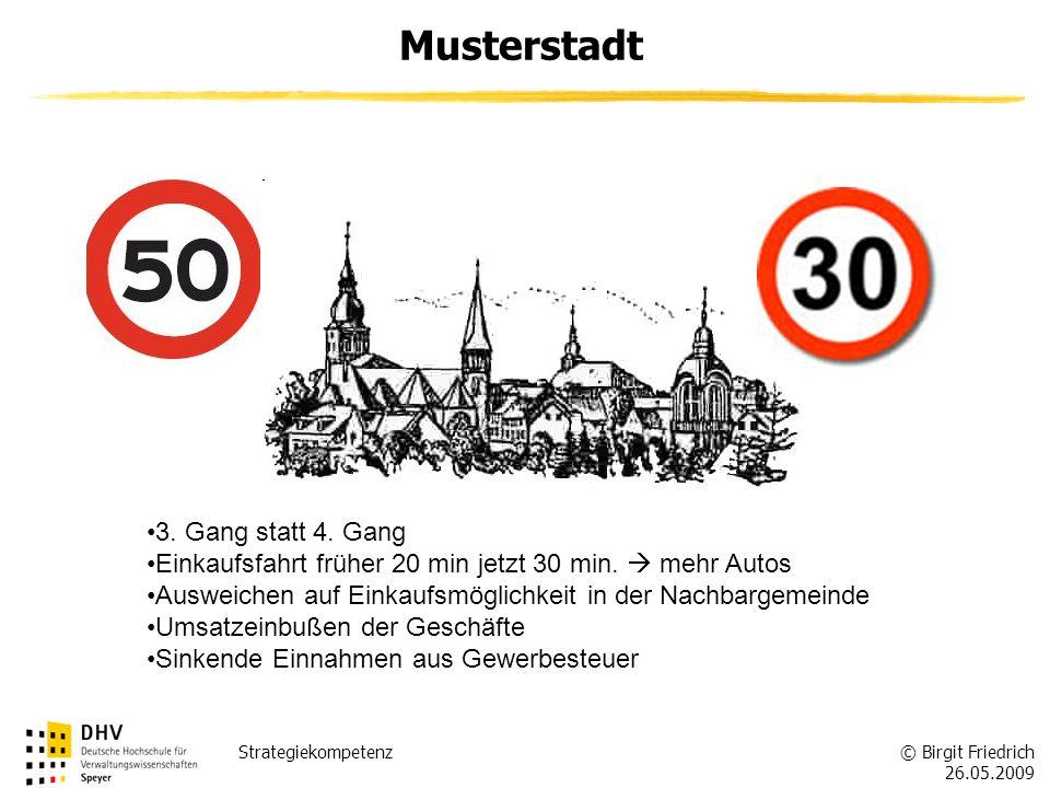 © Birgit Friedrich 26.05.2009 Strategiekompetenz Musterstadt 3. Gang statt 4. Gang Einkaufsfahrt früher 20 min jetzt 30 min. mehr Autos Ausweichen auf