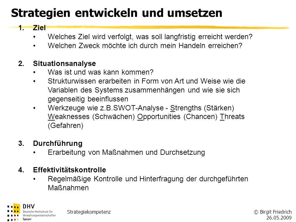 © Birgit Friedrich 26.05.2009 Strategiekompetenz Strategien entwickeln und umsetzen 1.Ziel Welches Ziel wird verfolgt, was soll langfristig erreicht w