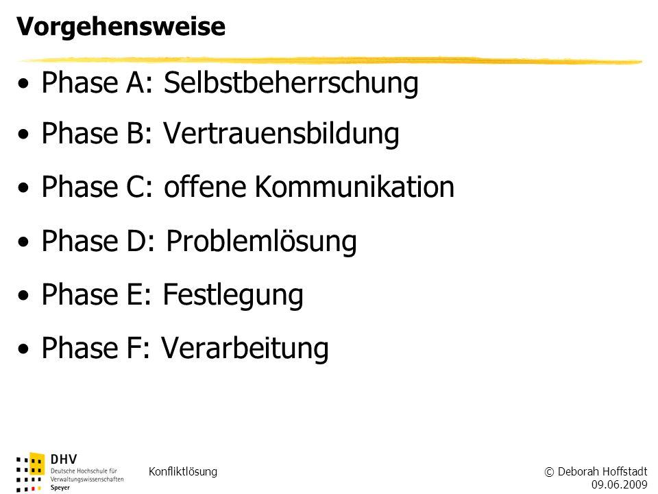 © Deborah Hoffstadt 09.06.2009 Konfliktlösung Vorgehensweise Phase A: Selbstbeherrschung Phase B: Vertrauensbildung Phase C: offene Kommunikation Phas