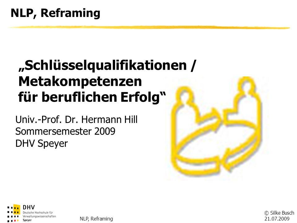 © Silke Busch 21.07.2009 NLP, Reframing Gliederung des Vortrags Einführung in das NLP -Definition -Entstehungsgeschichte -Anwendungsgebiete NLP in der beruflichen Praxis -Verbesserung der Kommunikationsfähigkeit durch Techniken des NLP -Metamodell der Sprache -Reframing