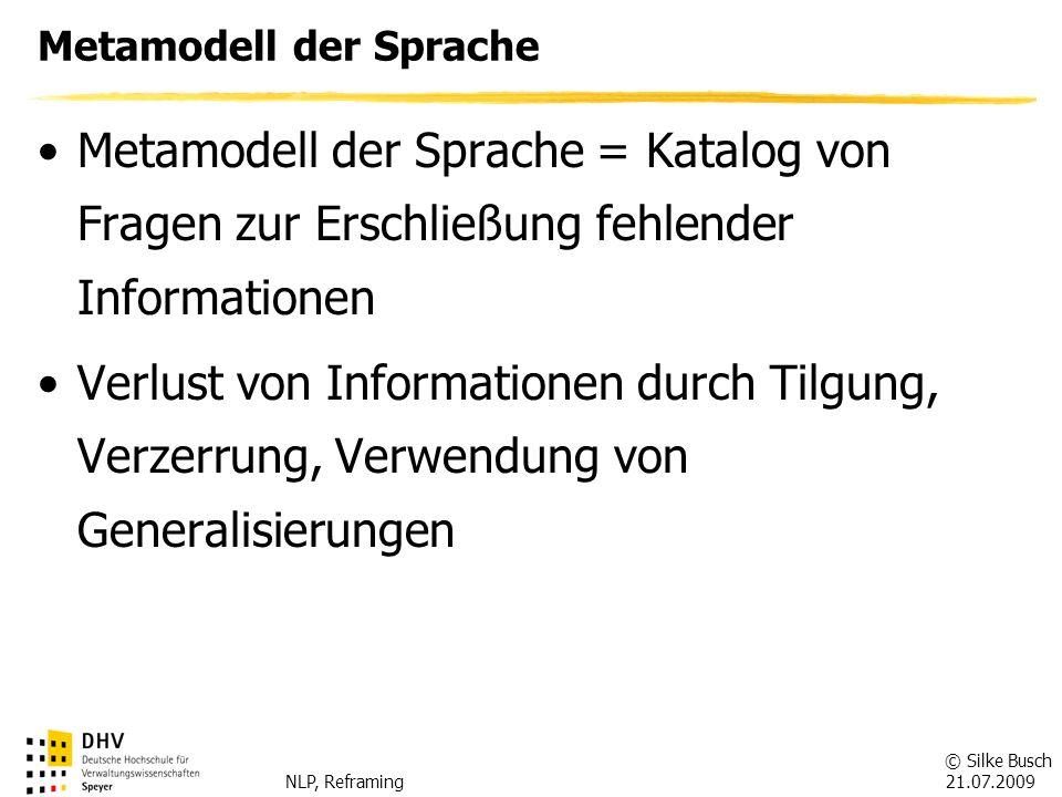 © Silke Busch 21.07.2009 NLP, Reframing Meta-Modell der Sprache TilgungenBeispielFrage Unspezifisches Verb Er hat mir geholfen.
