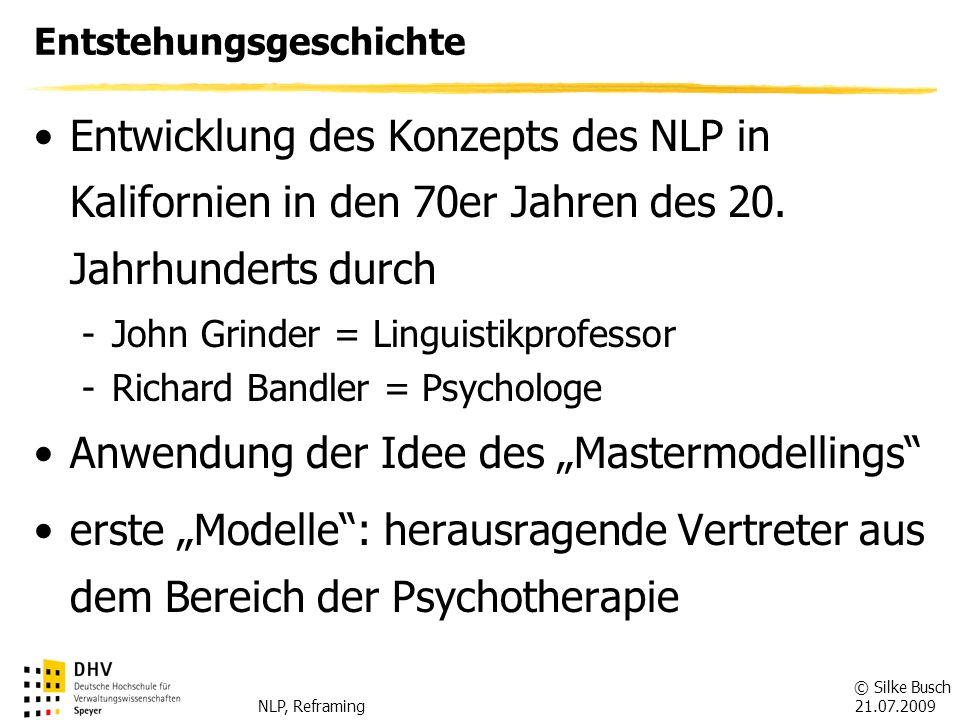 © Silke Busch 21.07.2009 NLP, Reframing Anwendungsgebiete Psychotherapie (Selbst-)Coaching Gesundheitswesen Pädagogik Arbeitswelt Sport