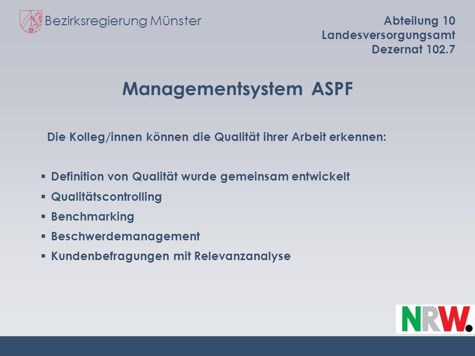 Bezirksregierung Münster Abteilung 10 Landesversorgungsamt Dezernat 102.7 Managementsystem ASPF Die Kolleg/innen können die Qualität ihrer Arbeit erke