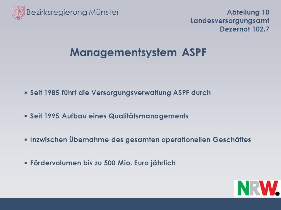 Bezirksregierung Münster Abteilung 10 Landesversorgungsamt Dezernat 102.7 Managementsystem ASPF Seit 1985 führt die Versorgungsverwaltung ASPF durch S