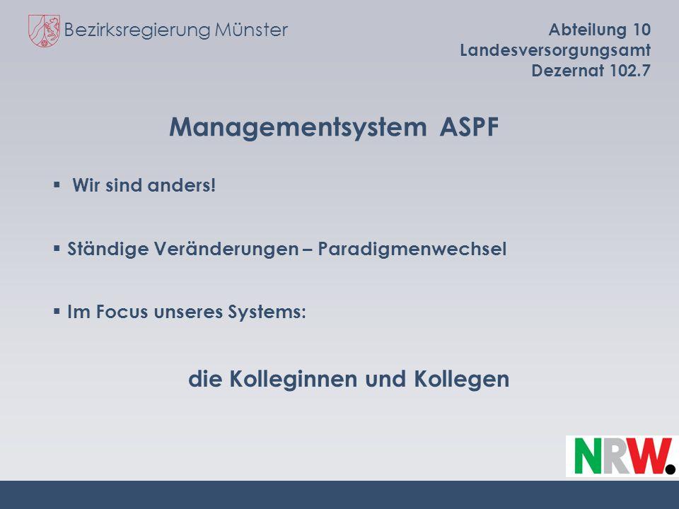 Bezirksregierung Münster Abteilung 10 Landesversorgungsamt Dezernat 102.7 Managementsystem ASPF Wir sind anders! Ständige Veränderungen – Paradigmenwe