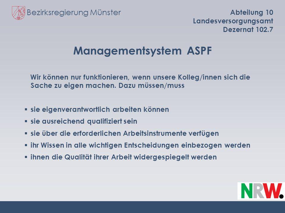 Bezirksregierung Münster Abteilung 10 Landesversorgungsamt Dezernat 102.7 Managementsystem ASPF Wir können nur funktionieren, wenn unsere Kolleg/innen