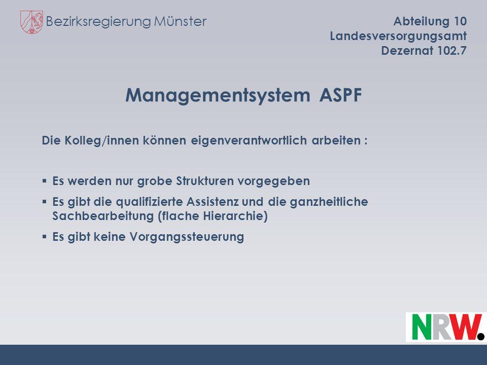 Bezirksregierung Münster Abteilung 10 Landesversorgungsamt Dezernat 102.7 Managementsystem ASPF Die Kolleg/innen können eigenverantwortlich arbeiten :