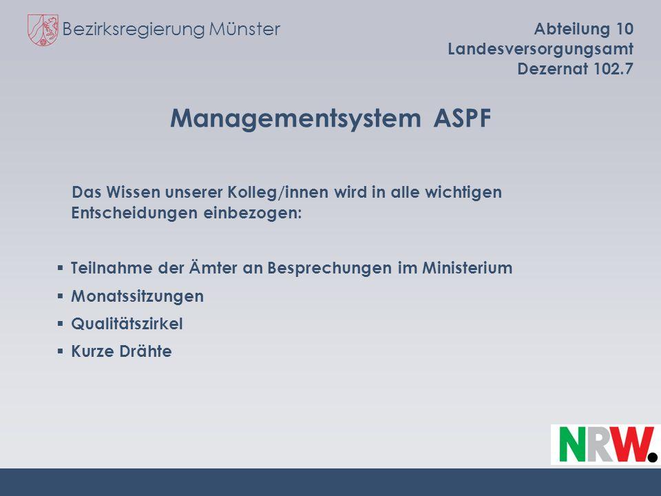 Bezirksregierung Münster Abteilung 10 Landesversorgungsamt Dezernat 102.7 Managementsystem ASPF Das Wissen unserer Kolleg/innen wird in alle wichtigen