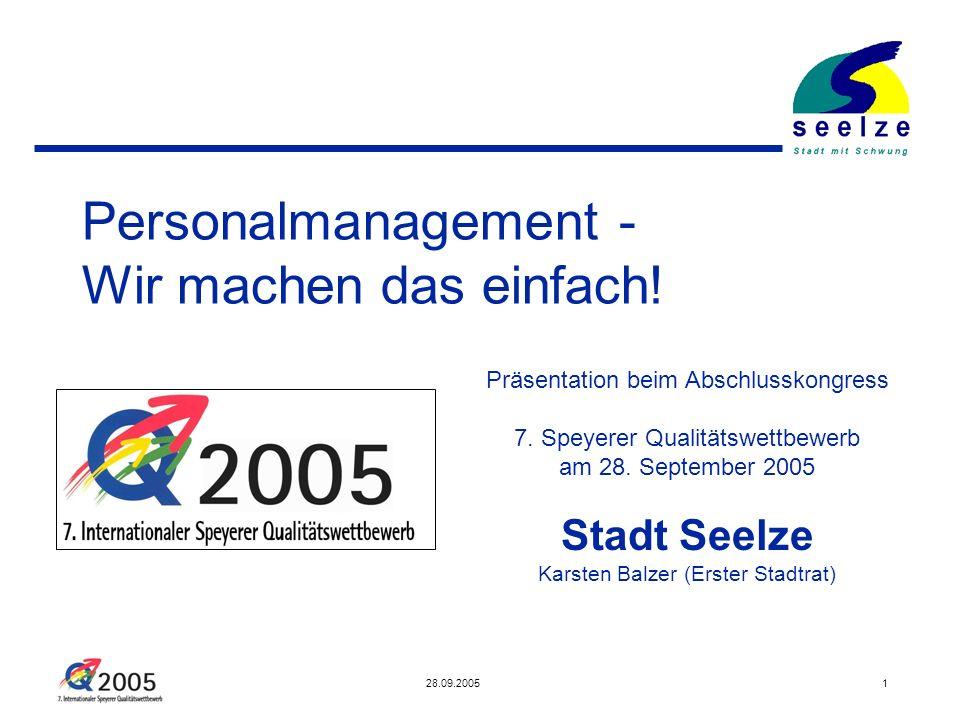 28.09.20051 Personalmanagement - Wir machen das einfach! Präsentation beim Abschlusskongress 7. Speyerer Qualitätswettbewerb am 28. September 2005 Sta