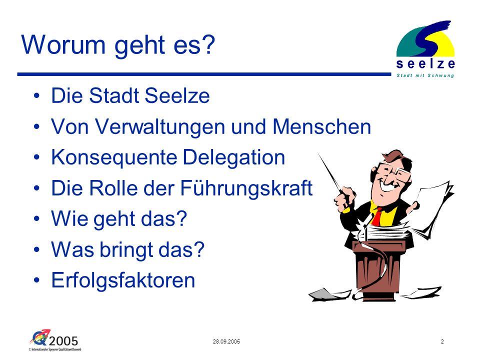 28.09.20053 Die Stadt Seelze Teil der Region Hannover 34.000 Einwohner – 11 Ortsteile Defizitär seit 1996 - Operatives Defizit 2004: 7 Mio.