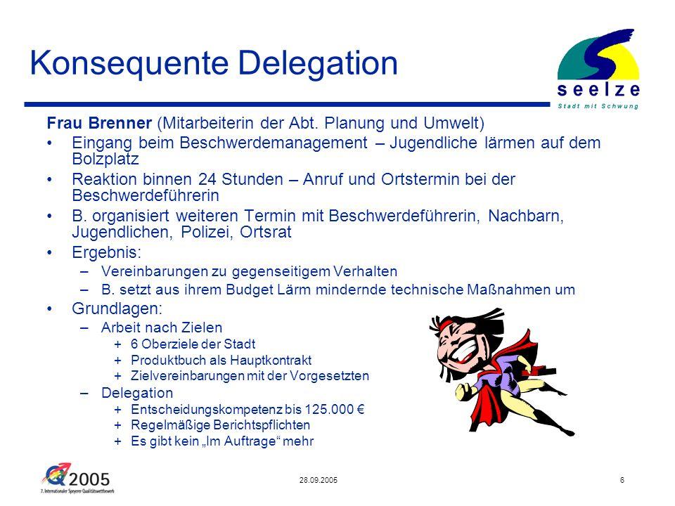 28.09.20056 Konsequente Delegation Frau Brenner (Mitarbeiterin der Abt. Planung und Umwelt) Eingang beim Beschwerdemanagement – Jugendliche lärmen auf