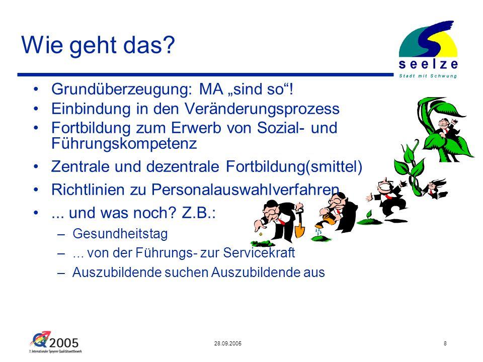28.09.20058 Wie geht das? Grundüberzeugung: MA sind so! Einbindung in den Veränderungsprozess Fortbildung zum Erwerb von Sozial- und Führungskompetenz